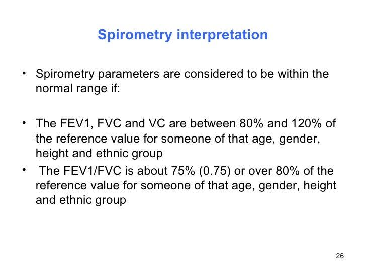 Spirometry interpretation <ul><li>Spirometry parameters are considered to be within the normal range if: </li></ul><ul><li...