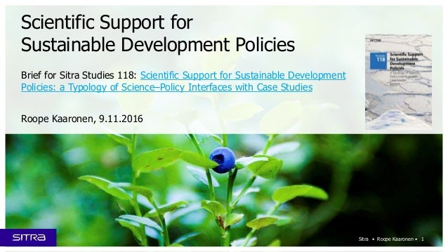 Brief for Sitra Studies 118: Scientific Support for Sustainable Development Policies: a Typology of Science–Policy Interfa...