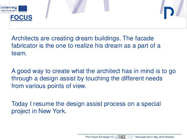"""Harald Spitaler, Stahlbau Pichler, Bolzano (IT) """"The design assist approach for the engineering of complex façades: general concepts and case studies"""" Slide 2"""