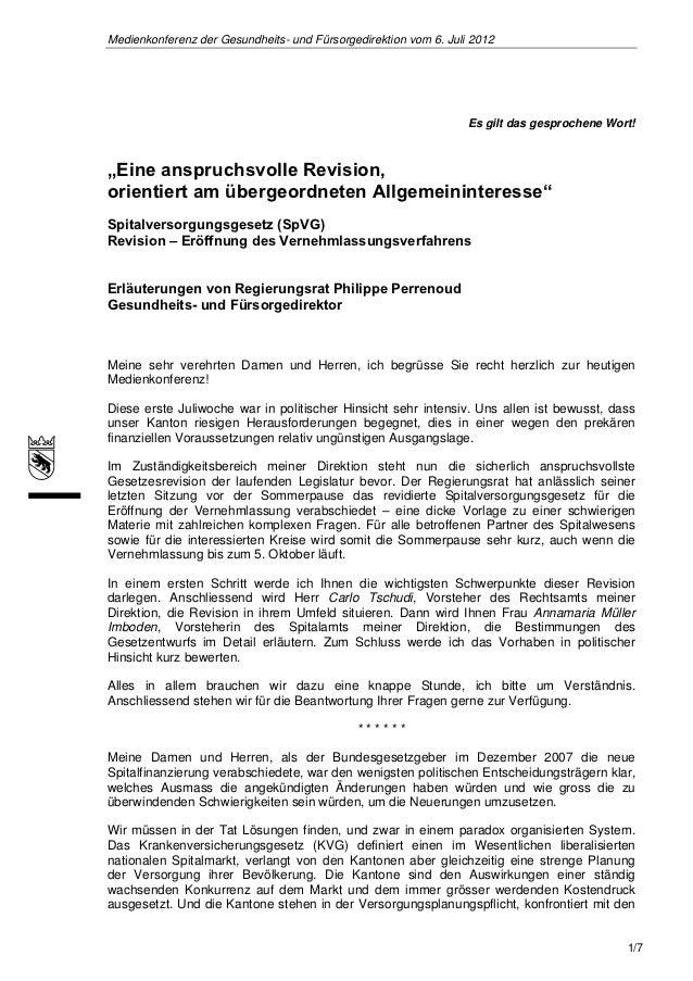 Medienkonferenz der Gesundheits- und Fürsorgedirektion vom 6. Juli 2012                                                   ...