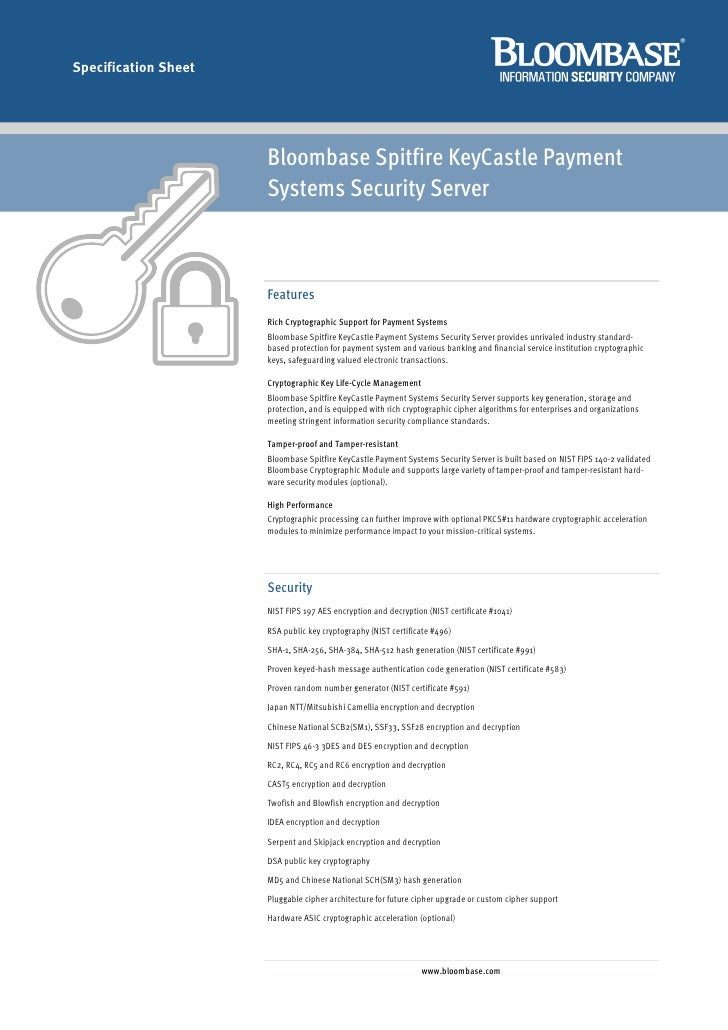 Specification Sheet                           Bloombase Spitfire KeyCastle Payment                       Systems Security ...