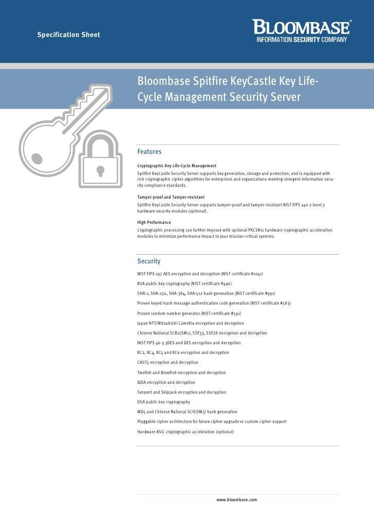 Specification Sheet                           Bloombase Spitfire KeyCastle Key Life-                       Cycle Managemen...