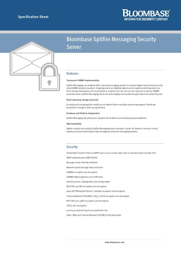 Specification Sheet                           Bloombase Spitfire Messaging Security                       Server          ...