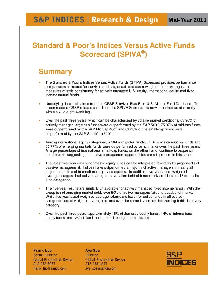 S&P INDICES | Research & Design                                                     Mid-Year 2011Standard & Poor's Indices...
