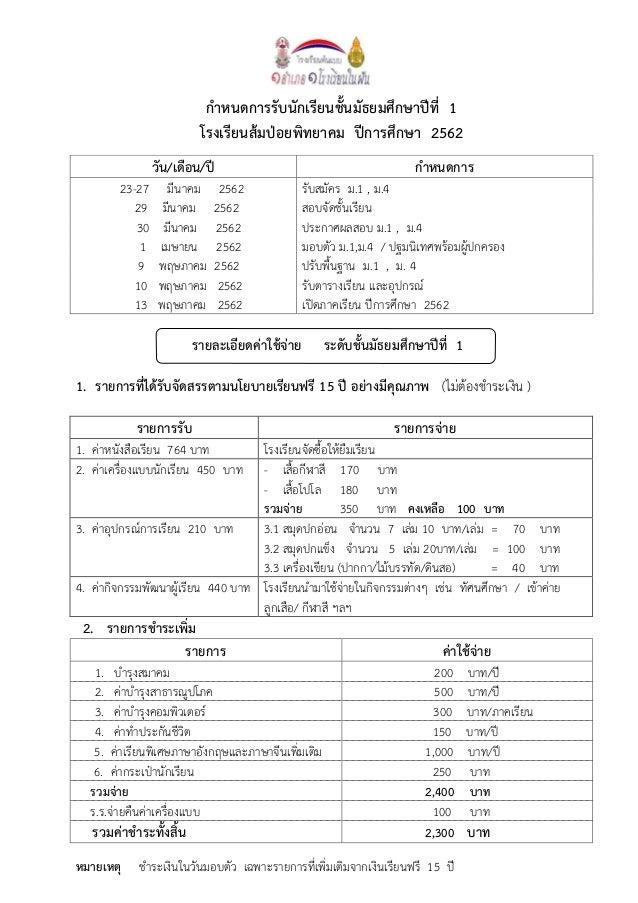 กำหนดกำรรับนักเรียนชั้นมัธยมศึกษำปีที่ 1 โรงเรียนส้มป่อยพิทยำคม ปีกำรศึกษำ 2562 วัน/เดือน/ปี กำหนดกำร 23-27 มีนาคม 2562 รั...