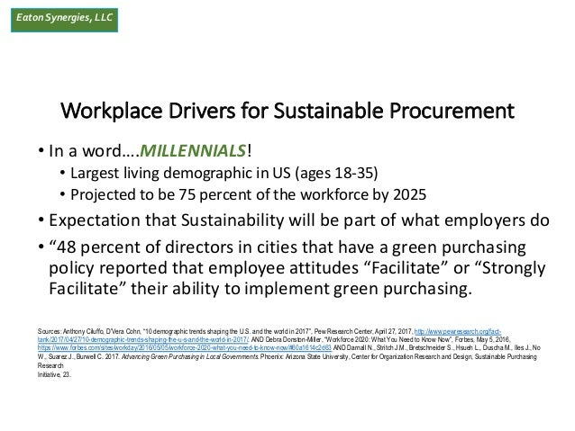 EatonSynergies, LLC Workplace Drivers for Sustainable Procurement • In a word….MILLENNIALS! • Largest living demographic i...