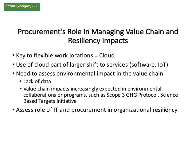 EatonSynergies, LLC Procurement's Role in Managing Value Chain and Resiliency Impacts • Key to flexible work locations = C...