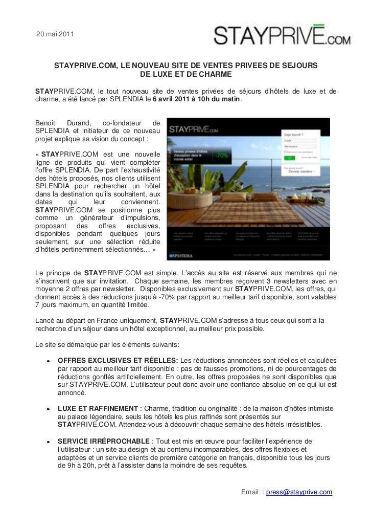 STAYPRIVE.COM, LE NOUVEAUSITE DE VENTES PRIVEES DE SEJOURS DE LUXE ET DE CHARME<br />STAYPRIVE.COM, le tout nouveau site ...