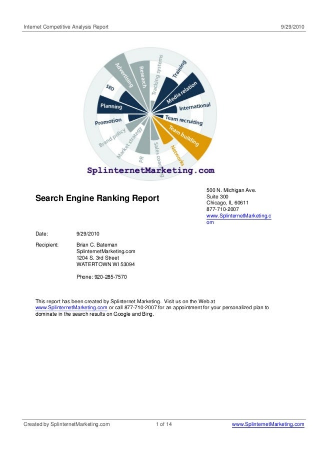 Internet Competitive Analysis Report 9/29/2010 Search Engine Ranking Report 500 N. Michigan Ave. Suite 300 Chicago, IL 606...