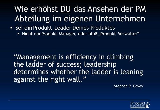 """Wie erhöhst DU das Ansehen der PM Abteilung im eigenen Unternehmen Produkt Deines Produktes Produkt """"Produkt """" """"Management..."""