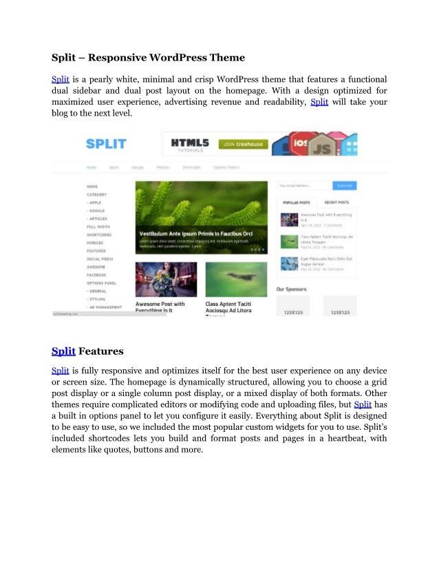 Split   responsive wordpress theme
