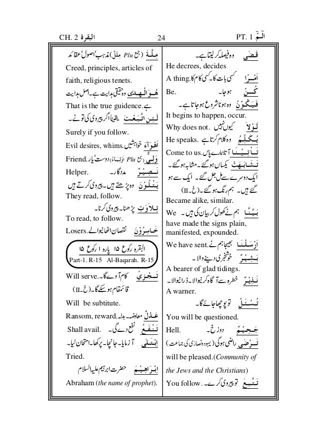 Meanings Of The Difficult Words Of The Holy Qur An Urdu English