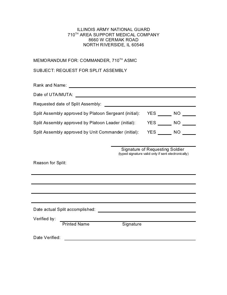 Split Request Form