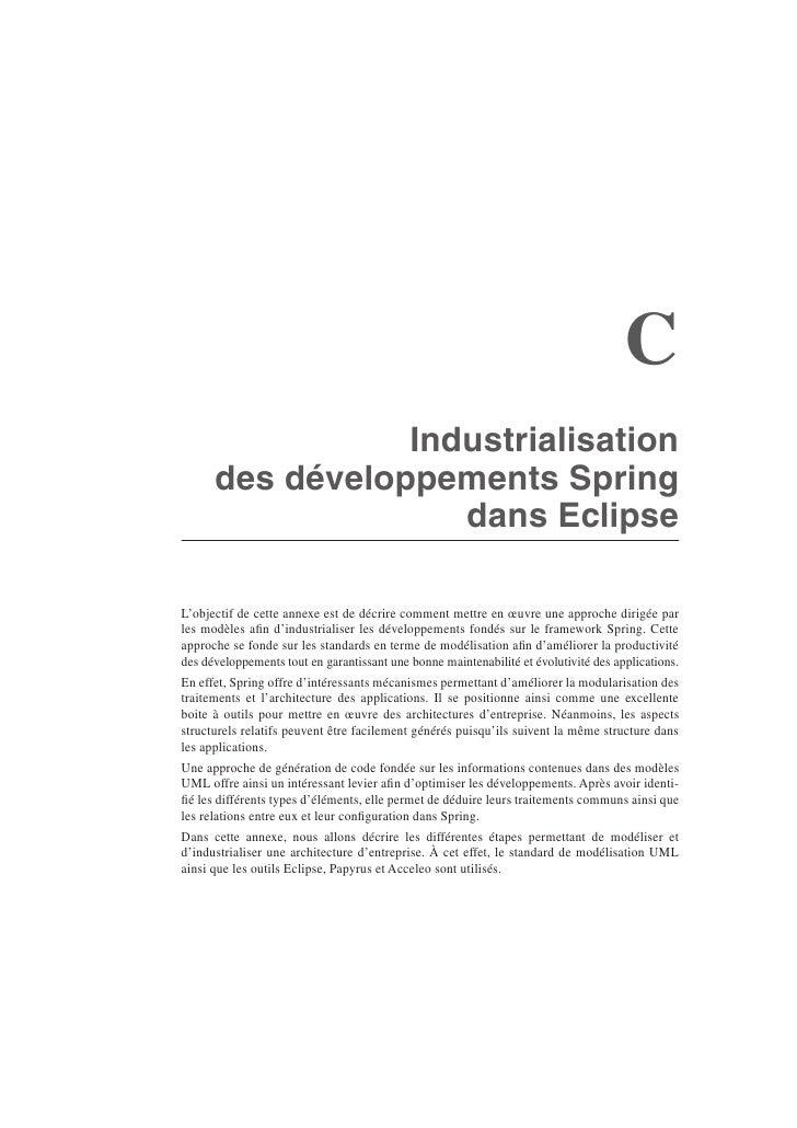 C                  Industrialisation       des développements Spring                     dans Eclipse  L'objectif de cette...