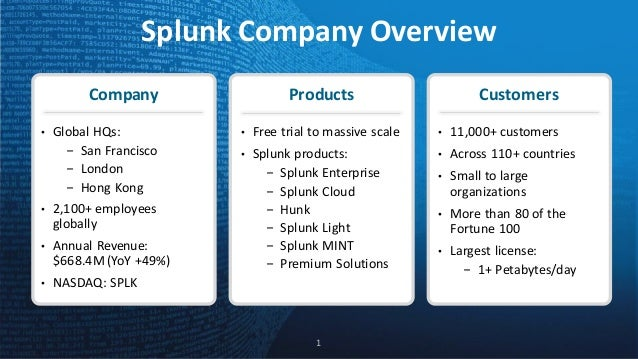 SplunkCompanyOverview 1 Company • GlobalHQs: - SanFrancisco - London - HongKong • 2,100+employees globally • Ann...