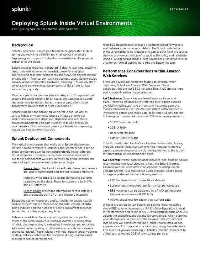 Configuring Splunk on Amazon Web Services Deploying Splunk Inside Virtual Environments T E C H B R I E F Most EC2 deployme...