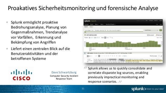 Proakatives Sicherheitsmonitoring und forensische Analyse Splunk ermöglicht proaktive Bedrohungsanalyse, Planung von Gegen...