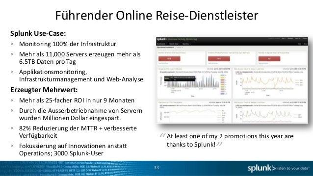 Führender Online Reise-DienstleisterSplunk Use-Case:  Monitoring 100% der Infrastruktur  Mehr als 11,000 Servers erzeugen ...