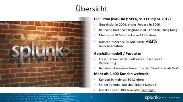 Übersicht        Die Firma (NASDAQ: SPLK, seit Frühjahr 2012)          Gegründet in 2004, erstes Release in 2006          ...