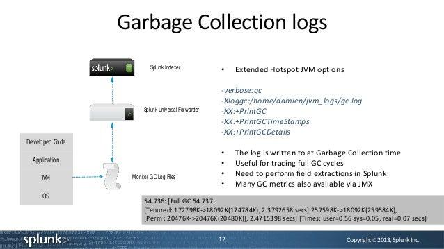 Copyright©2013,SplunkInc.Garbage Collection logs12Splunk IndexerSplunk Universal ForwarderMonitor GC Log FilesDeveloped Co...