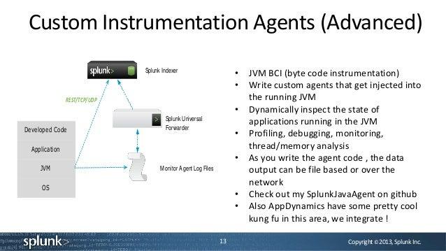 Copyright©2013,SplunkInc.Custom Instrumentation Agents (Advanced)13Splunk IndexerSplunk UniversalForwarderMonitor Agent Lo...