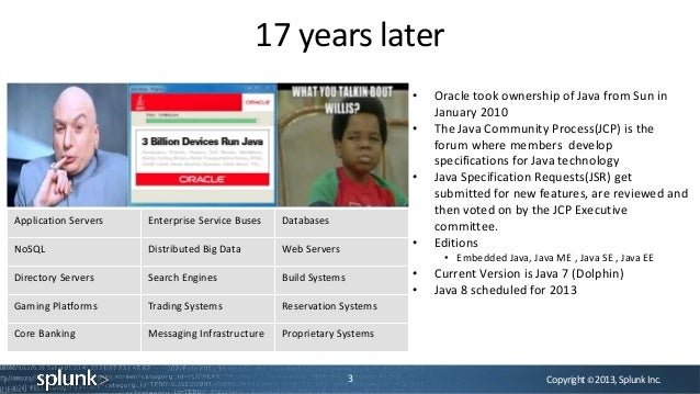 Copyright©2013,SplunkInc.17 years later3• Oracle took ownership of Java from Sun inJanuary 2010• The Java Community Proces...