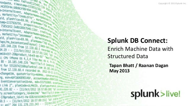 Copyright © 2013 Splunk Inc.Tapan Bhatt / Raanan DaganMay 2013Splunk DB Connect:Enrich Machine Data withStructured Data