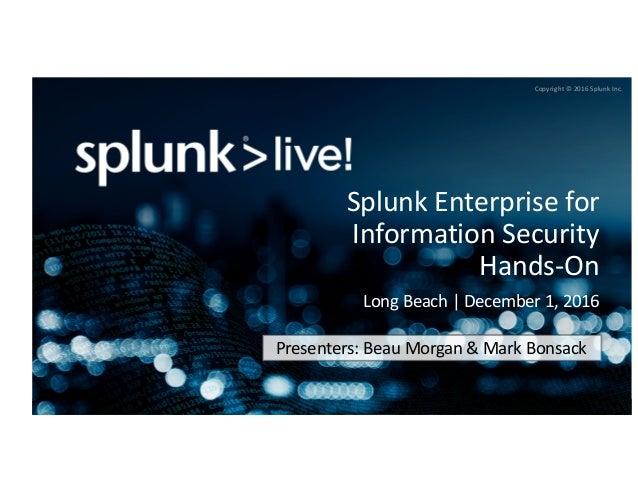 Splunk Enterprise for InfoSec Hands-On