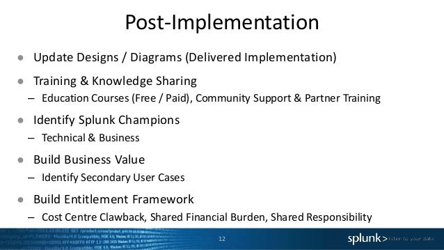 Post-Implementation 12 ● Update Designs / Diagrams (Delivered Implementation) ● Training & Knowledge Sharing – Education C...