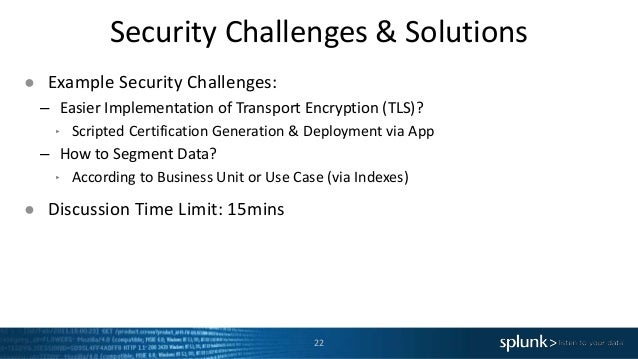 Security Challenges & Solutions 22 ● Example Security Challenges: – Easier Implementation of Transport Encryption (TLS)? ‣...