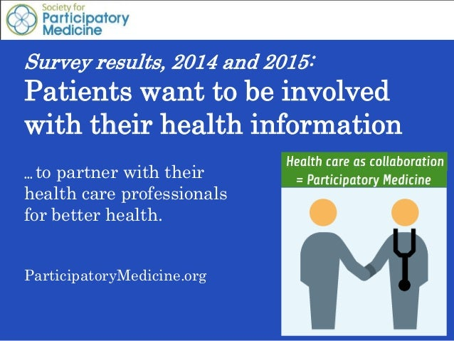 Survey results, 2014 and 2015: Patients want to be involved with their health information … to partner with their health c...