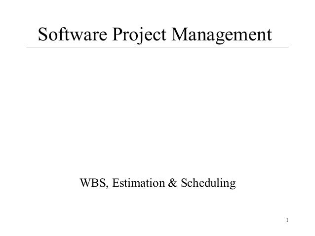 Software Project Management  WBS, Estimation & Scheduling 1