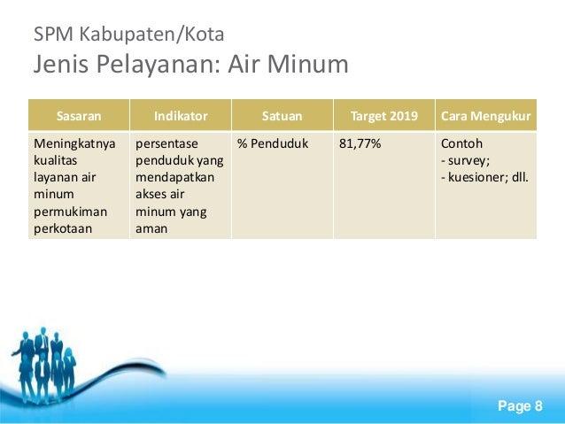 Free Powerpoint Templates  Page 8  SPM Kabupaten/Kota Jenis Pelayanan: Air Minum  Sasaran  Indikator  Satuan  Target 2019 ...