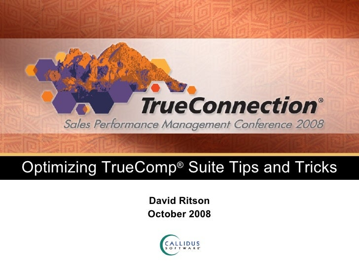 Optimizing TrueComp ®  Suite Tips and Tricks David Ritson October 2008
