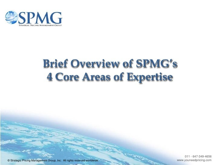Brief Overview of SPMG's                              4 Core Areas of Expertise                                           ...