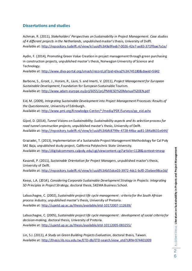 26.  A.J.GilbertSilvius:LiteratureonSustainabilityinProjectsandProjectManagement  ...