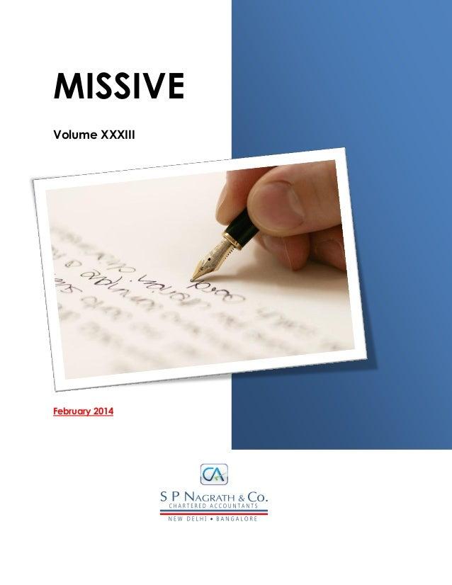 MISSIVE Volume XXXIII February 2014