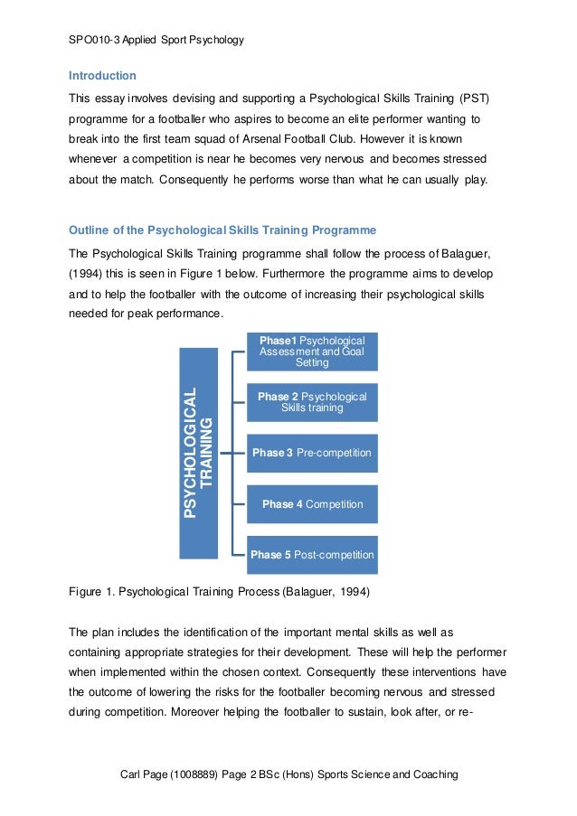 a mental skills training programme psychological skills training pst   2 spo010 3 applied sport psychology this essay involves devising and
