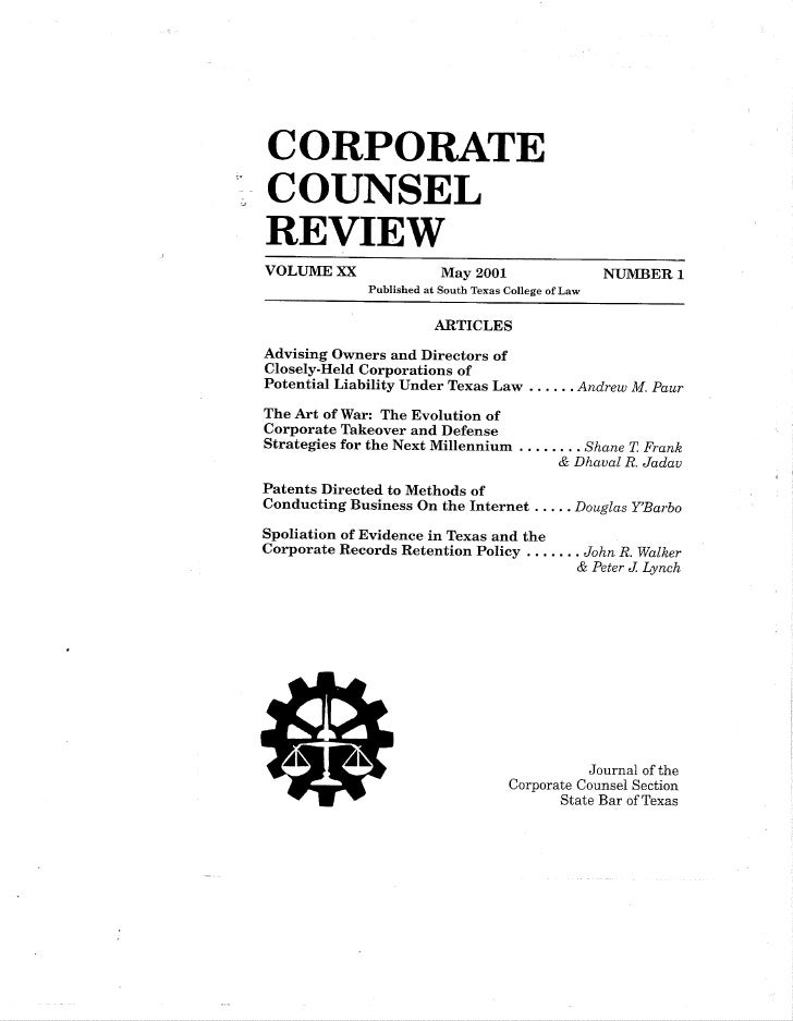 Spoiliation Of Evidence In Tx And Corp Records Retention Policy   Article