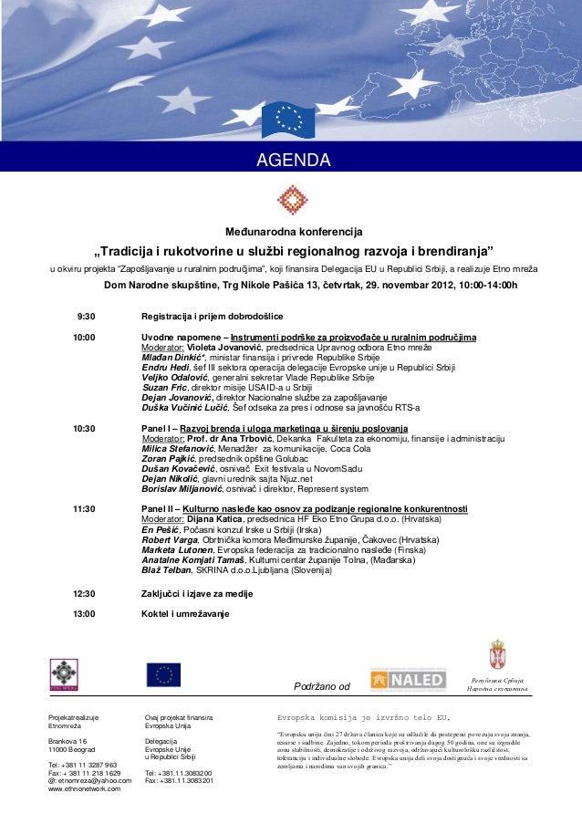 """AGENDA                                                        Međunarodna konferencija               """"Tradicija i rukotvor..."""