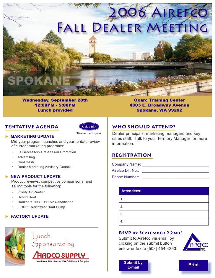 2006 Airefco                               Fall Dealer Meeting SPOKANE           Wednesday, September 28th                ...