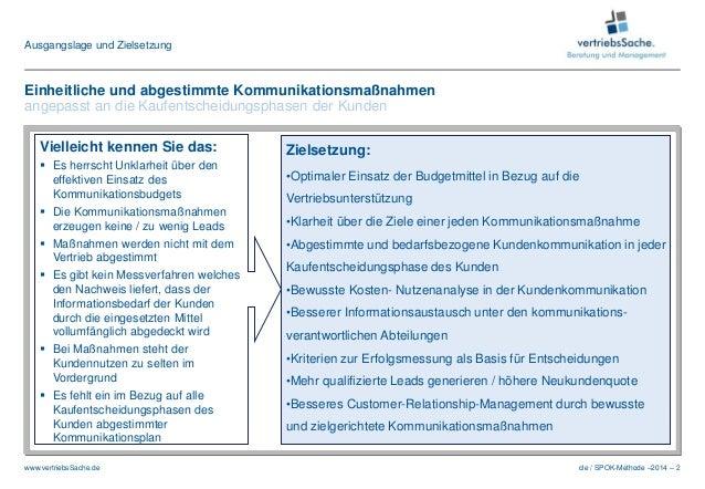 cle / SPOK-Methode –2014 – 2www.vertriebsSache.de Ausgangslage und Zielsetzung Zielsetzung: •Optimaler Einsatz der Budgetm...