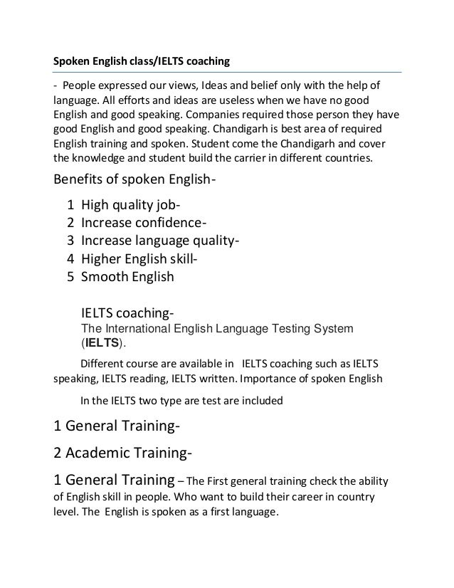 Spoken english class and ielts coaching pd