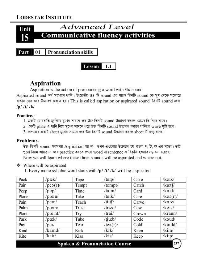 LODESTAR INSTITUTE Spoken & Pronunciation Course 237 Part 01 Pronunciation skills Lesson 1.1 Aspiration Aspiration is the ...