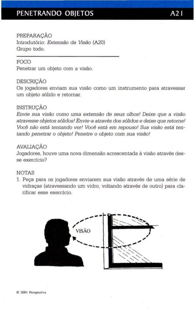 PENETRANDO OBJETOS A2 I  PREPARAÇÃO  Introdutório: Ex tensão da VJsão (A20)  Grupo todo.  FOCO  Penetrar um objeto com a v...