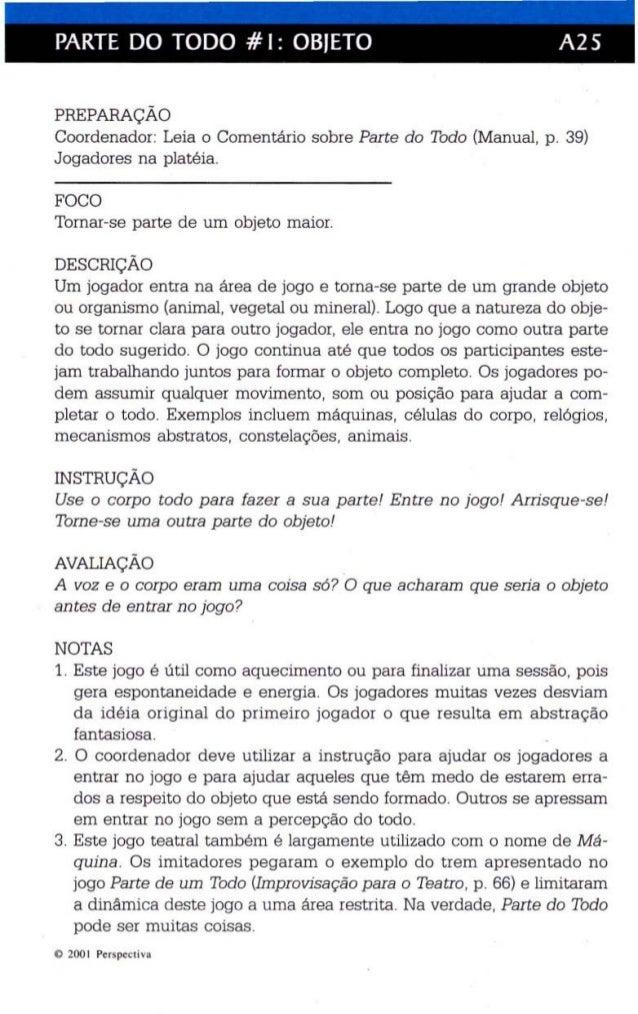 PARTE DO TODO # I: OBJETO A25  PREPARAÇÃO  Coordenador: Leia o Comentário sobre Parte do Todo (Manual, p. 39)  Jogadores n...