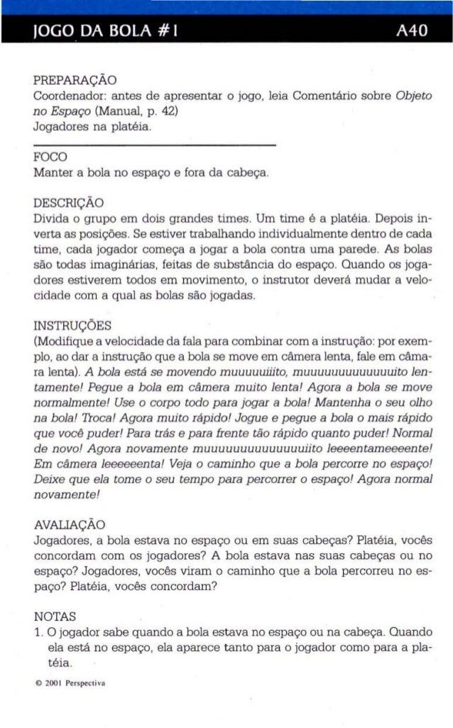 JOGO DA BOLA # I A40  PREPARAÇÃO  Coordenador: antes de apresentar o jogo, leia Comentário sobre Objeto  no Espaço (Manual...