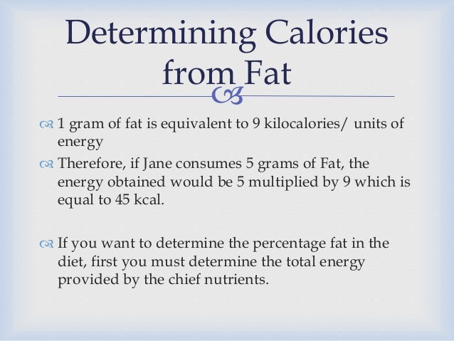how to calculate percentage of fat in food