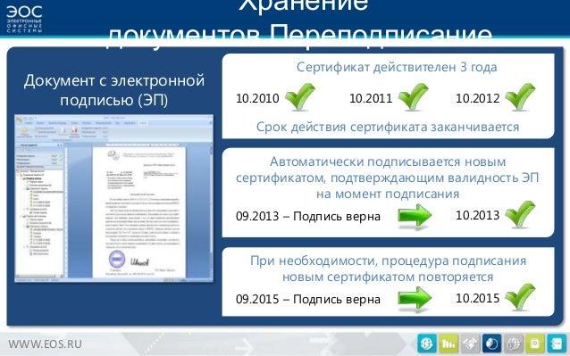 Хранение документов.Переподписание. Документ с электронной подписью (ЭП)  Сертификат действителен 3 года 10.2010  10.2011 ...