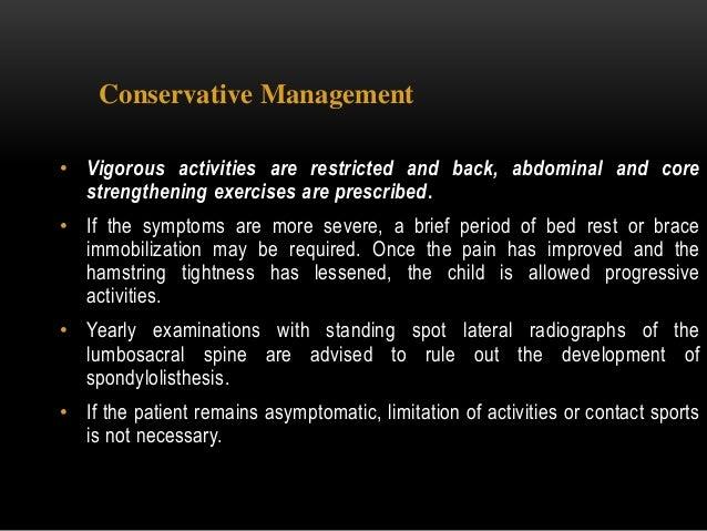 Spondylolisthesis management